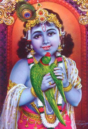 Famous Bhagwan Shri Krishna with Parrot Photo Gallery for free download